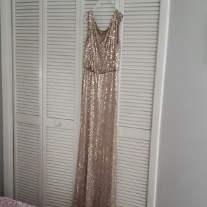 David's bridal long sequin blouson dress (Gold)